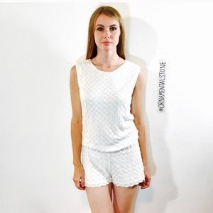 7f6f1191d121 Alexis Pants - ALEXIS JALYN KNIT ROMPER WHITE NWT PLAYSUIT ZIGZAG